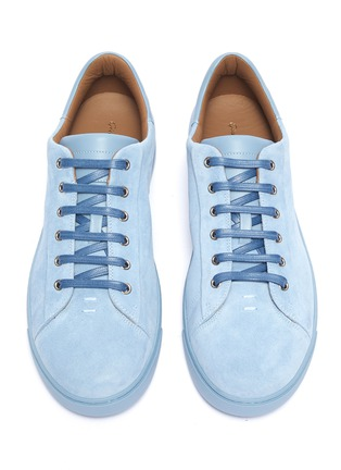 Detail View - Click To Enlarge - Gianvito Rossi - Leather collar suede sneakers