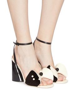 Mercedes Castillo 'Tila' ankle strap beaded floral leather sandals