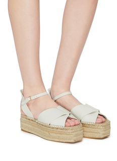 Mercedes Castillo 'Xiemena' ankle strap leather espadrille flatform sandals