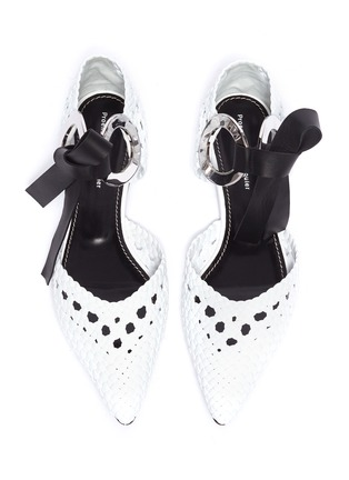 Detail View - Click To Enlarge - PROENZA SCHOULER - Metal ring tie woven leather d'Orsay flats