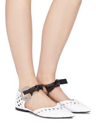 Figure View - Click To Enlarge - PROENZA SCHOULER - Metal ring tie woven leather d'Orsay flats