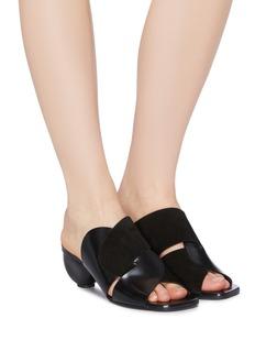 Proenza Schouler Sculptural heel interlock suede leather panel sandals
