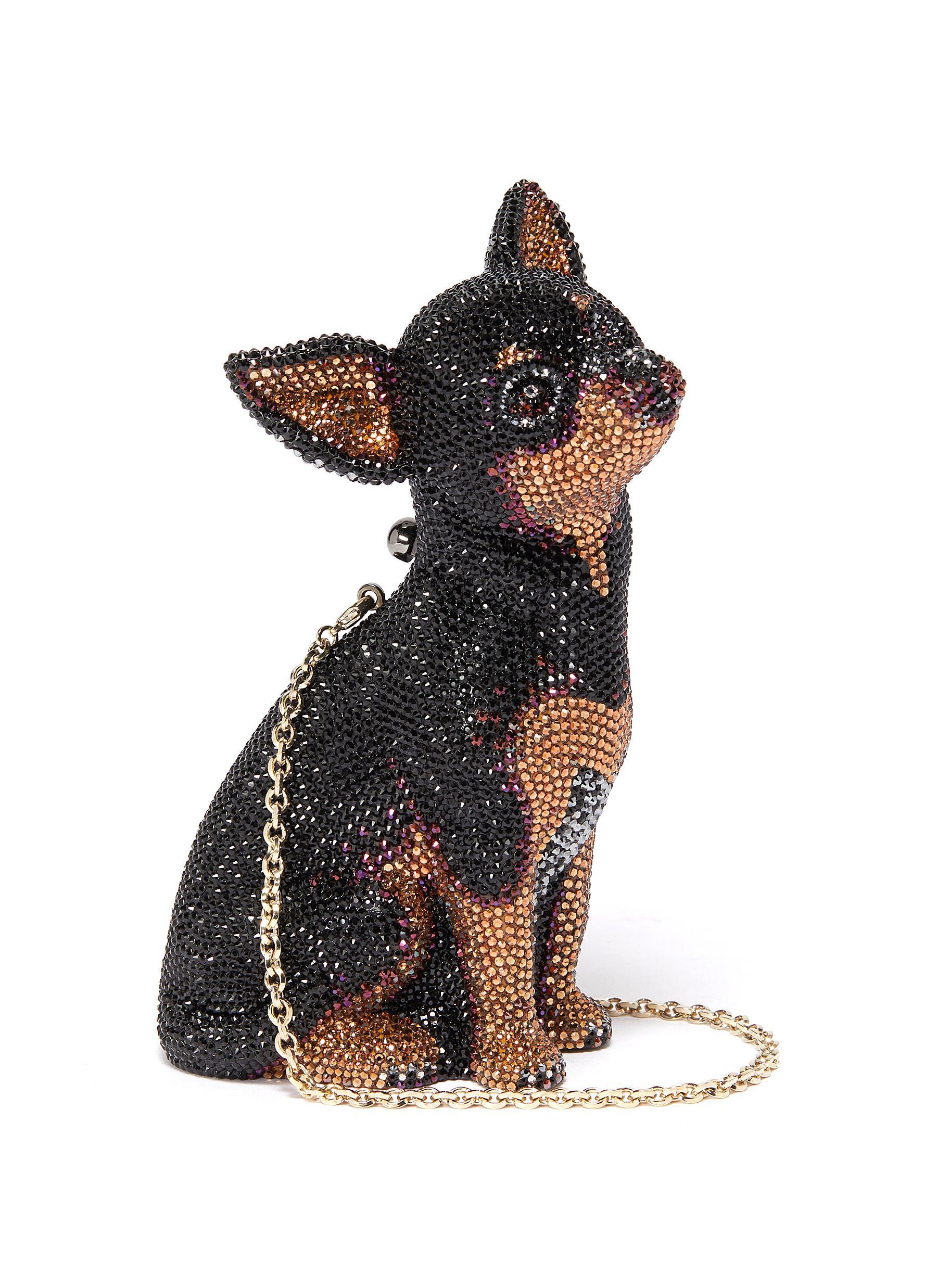 'Mickie Chihuahua' glass crystal pavé minaudière