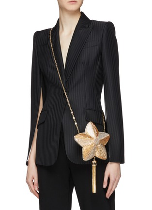 Figure View - Click To Enlarge - JUDITH LEIBER - 'Shooting Star' glass crystal tassel clutch