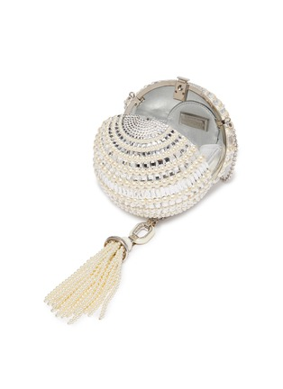 Detail View - Click To Enlarge - JUDITH LEIBER - 'Celestial Sphere' glass crystal faux pearl tassel clutch