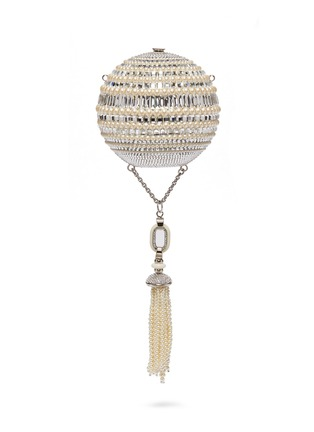 Main View - Click To Enlarge - JUDITH LEIBER - 'Celestial Sphere' glass crystal faux pearl tassel clutch