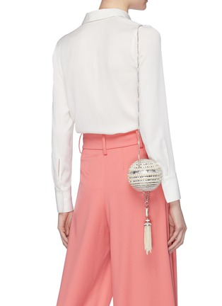 Figure View - Click To Enlarge - JUDITH LEIBER - 'Celestial Sphere' glass crystal faux pearl tassel clutch