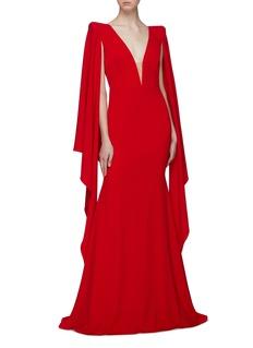 Alex Perry 'Cassine' drape sleeve crepe cape gown