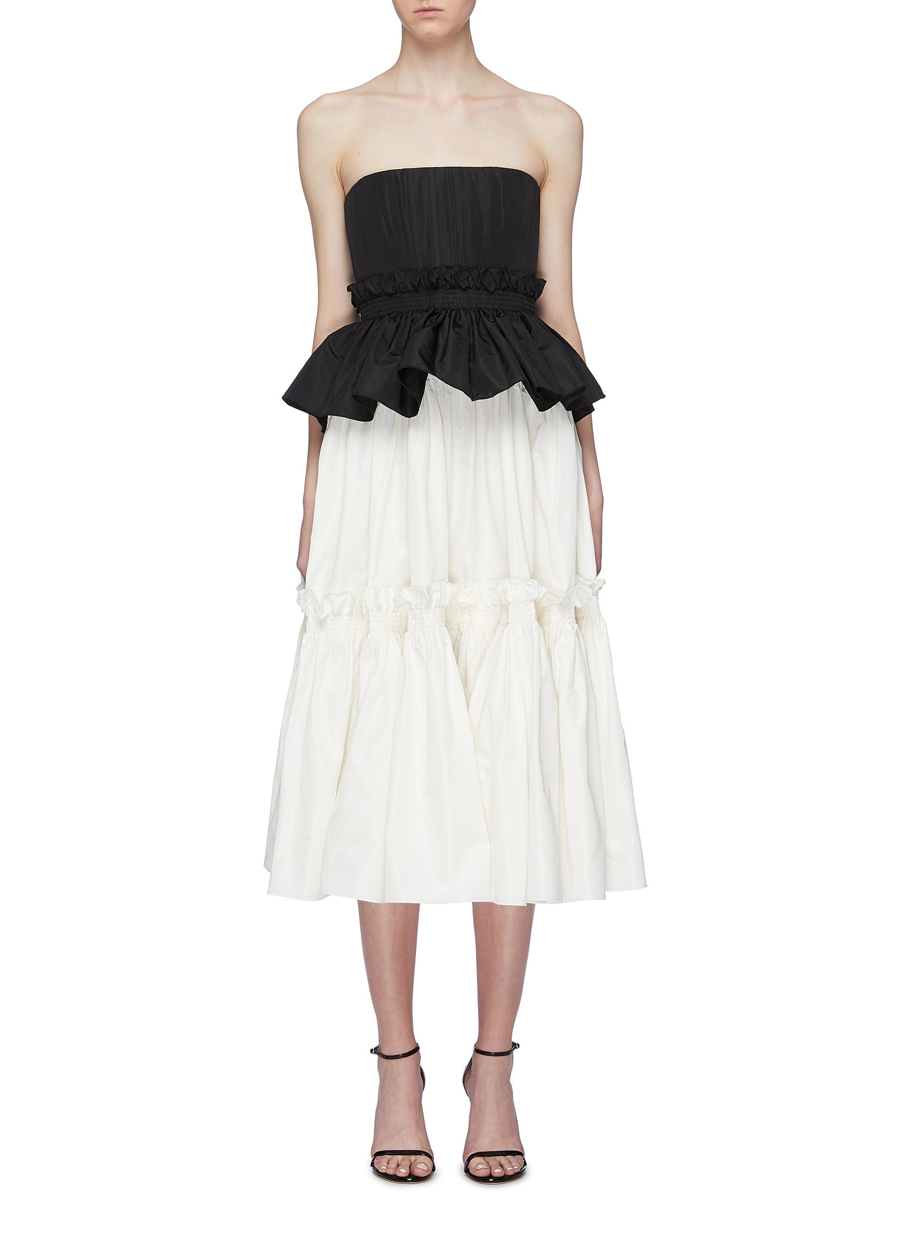 'Corinne' pleated tiered colourblock silk taffeta peplum dress