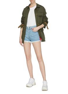Forte Couture Ruched bandana print outseam denim shorts