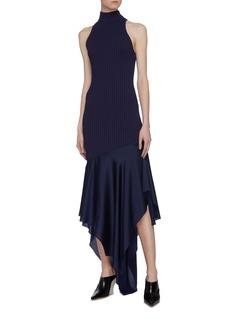 Solace London 'Dilan' asymmetric satin ruffle hem rib knit sleeveless dress