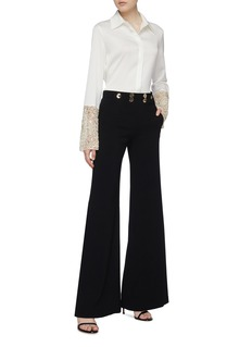 Galvan London 'Ansi' mock button waist crepe wide leg suiting pants
