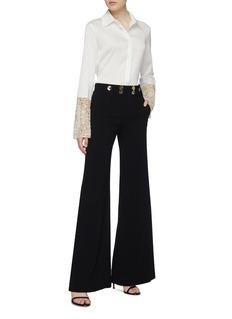 Galvan London 'Marrakech' embellished macramé lace cuff crepe shirt