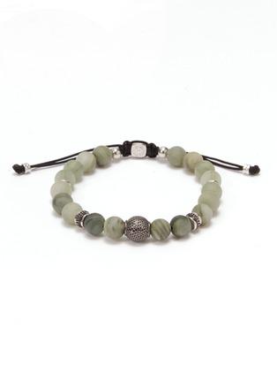 Main View - Click To Enlarge - TATEOSSIAN - 'Macrame Stratus' green line jasper bead bracelet