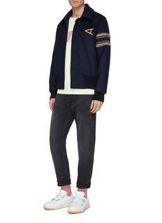 Acne Studios Stripe sleeve logo patch wool blend melton jacket