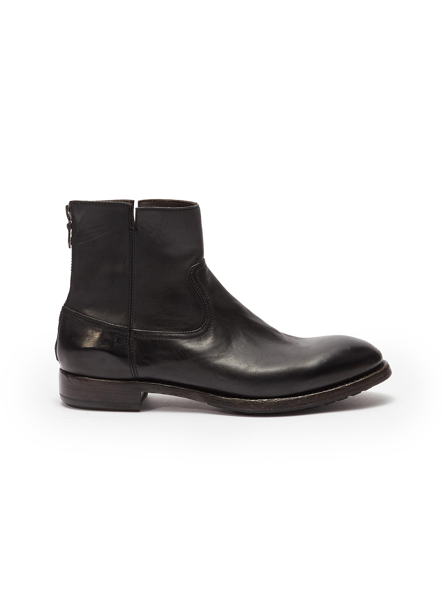 Project Twlv 'Flame' Leather Boots In Black