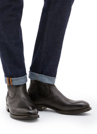 Figure View - Click To Enlarge - PROJECT TWLV - 'Flame' leather boots