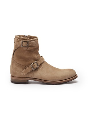 Main View - Click To Enlarge - PROJECT TWLV - 'Lowrider' buckled suede boots