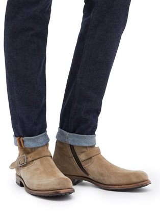 Figure View - Click To Enlarge - PROJECT TWLV - 'Lowrider' buckled suede boots