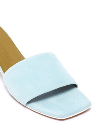 Detail View - Click To Enlarge - GRAY MATTERS - 'Mildred' egg heel suede sandals