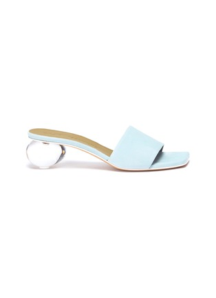 Main View - Click To Enlarge - GRAY MATTERS - 'Mildred' egg heel suede sandals