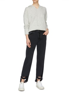 James Perse Brushed cashmere-silk knit cropped hoodie