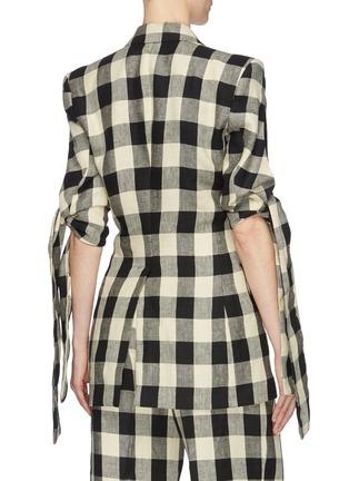 Back View - Click To Enlarge - PETAR PETROV - 'June' sash tie split cuff check linen blazer