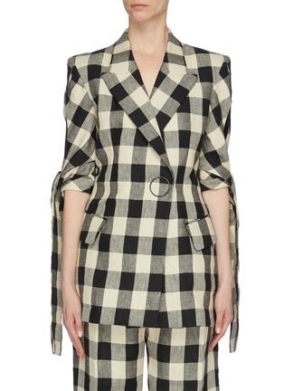 Main View - Click To Enlarge - PETAR PETROV - 'June' sash tie split cuff check linen blazer
