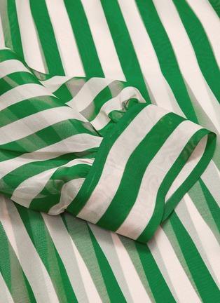 - PETAR PETROV - 'Bride' sash tie neck blouson sleeve stripe silk blouse