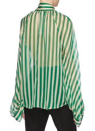 Back View - Click To Enlarge - PETAR PETROV - 'Bride' sash tie neck blouson sleeve stripe silk blouse