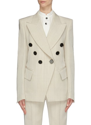 Main View - Click To Enlarge - PETAR PETROV - 'Jerry' slant button virgin wool double breasted blazer