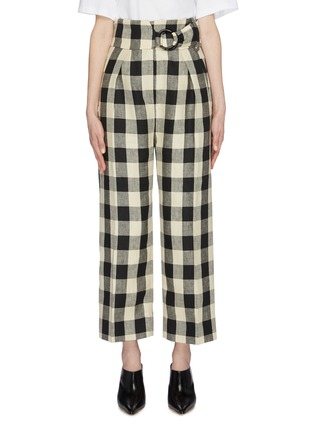 Main View - Click To Enlarge - PETAR PETROV - 'Herrin' ring buckled check linen wide leg pants