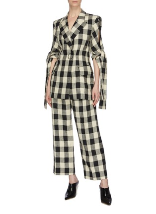 Figure View - Click To Enlarge - PETAR PETROV - 'Herrin' ring buckled check linen wide leg pants