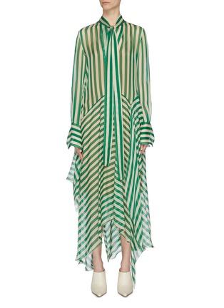 Main View - Click To Enlarge - PETAR PETROV - 'Dikon' sash tie neck panelled stripe silk dress