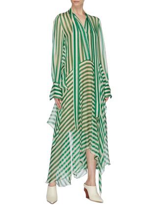 Figure View - Click To Enlarge - PETAR PETROV - 'Dikon' sash tie neck panelled stripe silk dress