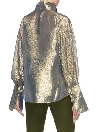 Back View - Click To Enlarge - PETAR PETROV - 'Brook' metallic taffeta pussybow blouse