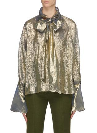Main View - Click To Enlarge - PETAR PETROV - 'Brook' metallic taffeta pussybow blouse