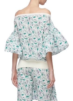 Back View - Click To Enlarge - DAWEI - Flared ruffle sleeve cat print off-shoulder top