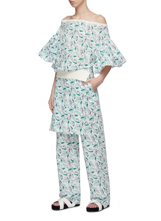 Figure View - Click To Enlarge - DAWEI - Flared ruffle sleeve cat print off-shoulder top