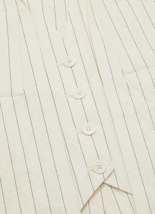 - DAWEI - Asymmetric folded drape panelled pinstripe skirt