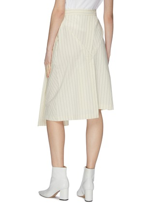 Back View - Click To Enlarge - DAWEI - Asymmetric folded drape panelled pinstripe skirt