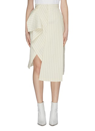 Main View - Click To Enlarge - DAWEI - Asymmetric folded drape panelled pinstripe skirt