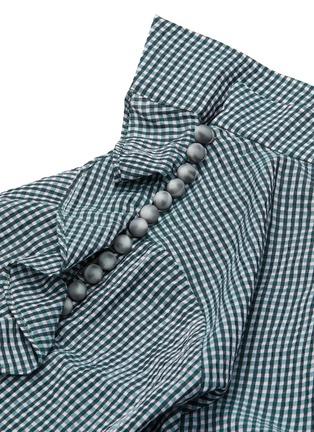 - DAWEI - Asymmetric ruffle sleeve gingham check top