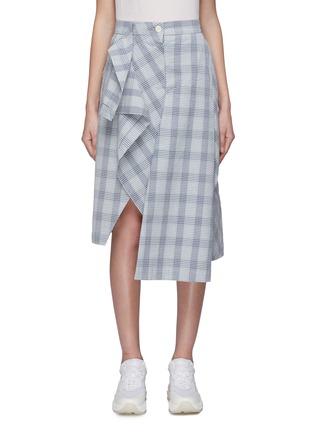 Main View - Click To Enlarge - DAWEI - Asymmetric panelled check plaid midi skirt