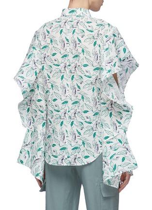 Back View - Click To Enlarge - DAWEI - Ruffle cutout sleeve cat print shirt