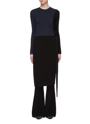 Main View - Click To Enlarge - ROSETTA GETTY - Tie side colourblock dress