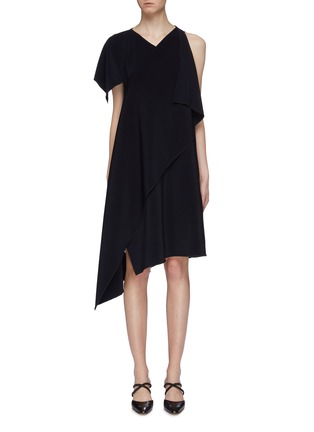 Main View - Click To Enlarge - ROSETTA GETTY - Asymmetric drape cross front dress