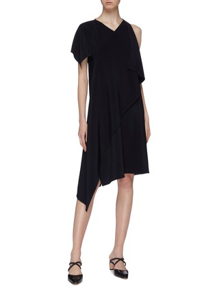Figure View - Click To Enlarge - ROSETTA GETTY - Asymmetric drape cross front dress