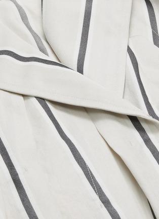- THE KEIJI - Belted pleated drape stripe wrap coat