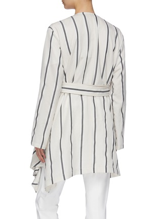 Back View - Click To Enlarge - THE KEIJI - Belted pleated drape stripe wrap coat